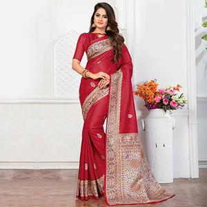 Red Casual Wear Printed Bhagalpuri Silk Saree