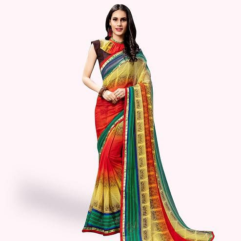Trendy Multi Colored Casual Printed Georgette Saree