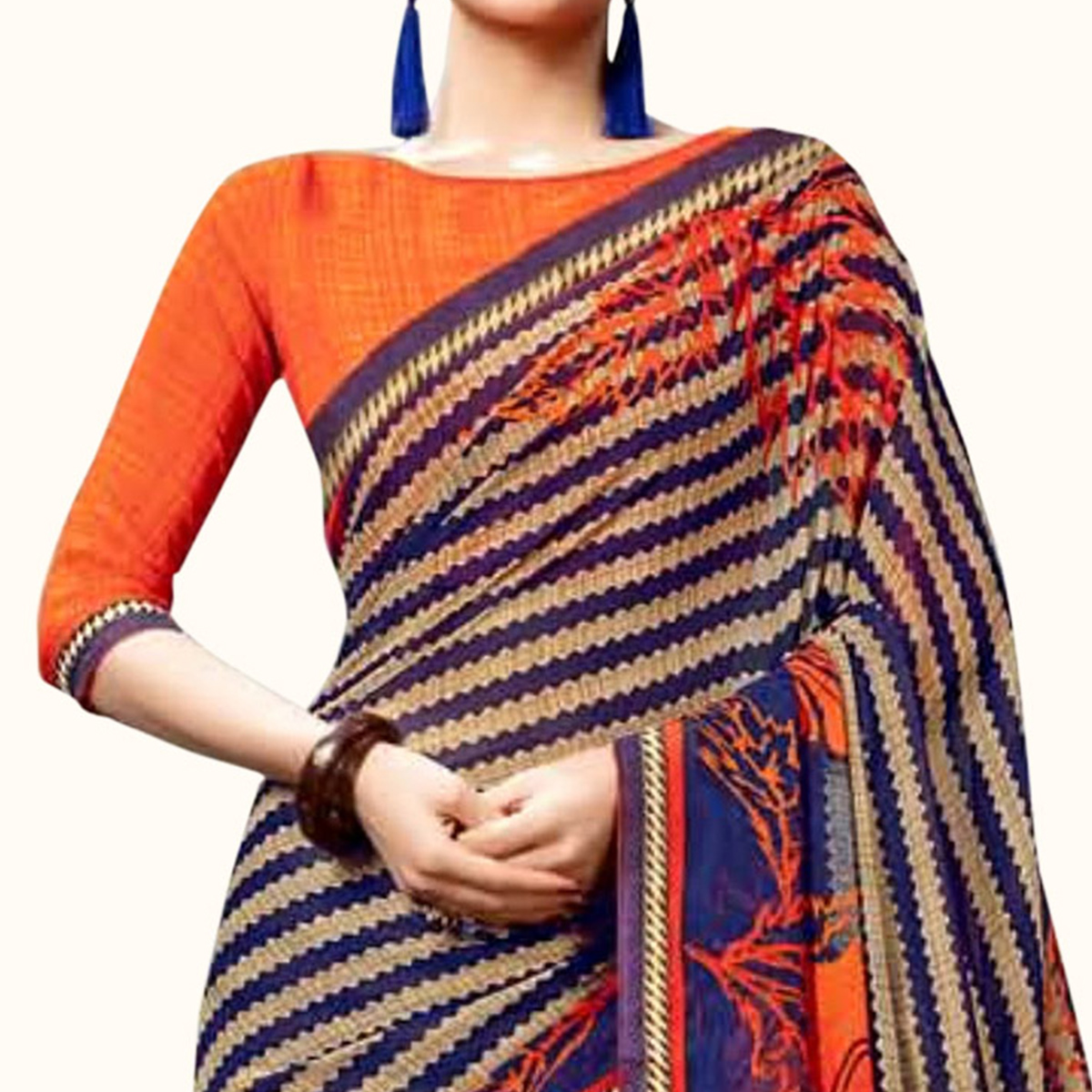 Flattering Blue Colored Casual Printed Georgette Saree