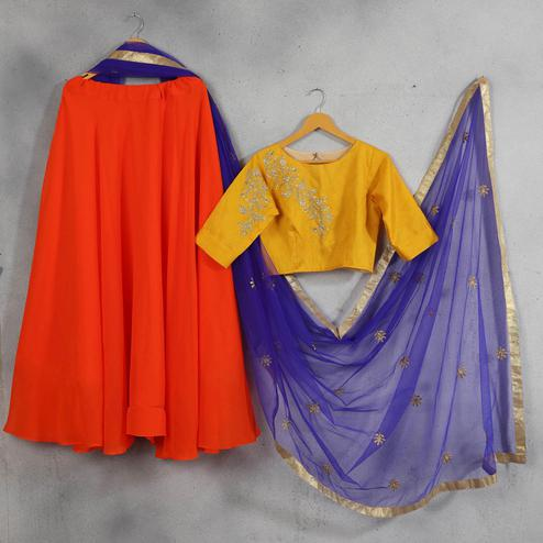 Imposing Orange-Yellow Colored Party Wear Embroidered Georgette Lehenga Choli