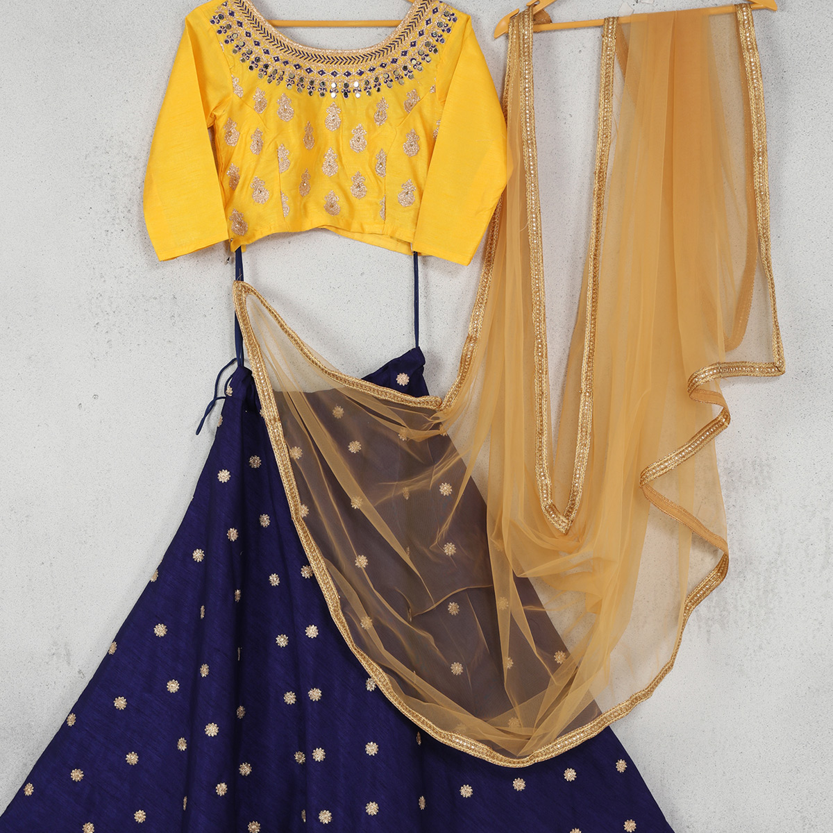 Lovely Navy Blue-Yellow Colored Party Wear Embroidered Banglori Lehenga Choli
