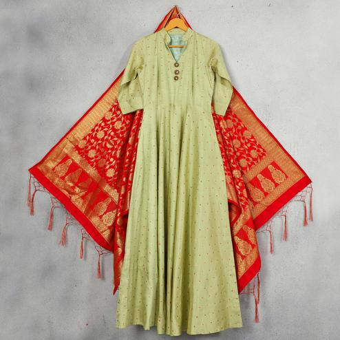 Mesmeric Mint Green Colored Party Wear Embroidered Silk Gown