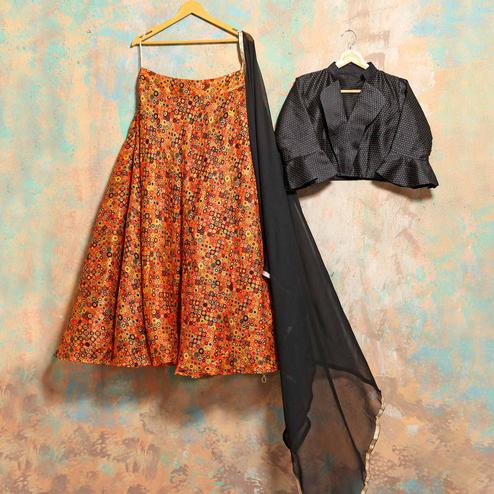 Appealing Orange-Black Colored Party Wear Printed Banglori Silk Lehenga Choli