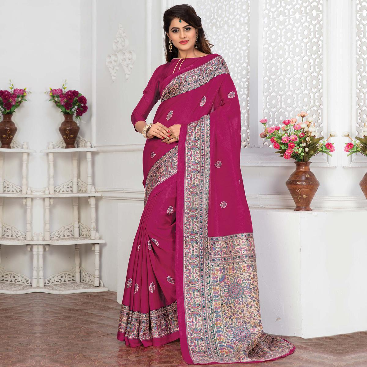 Pink Bhagalpuri Silk Printed Casual Wear Saree