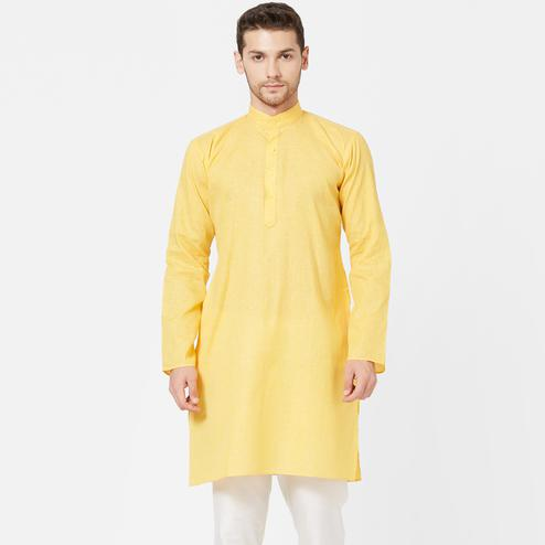 Captivating Light Yellow Colored Festive Wear Cotton Kurta