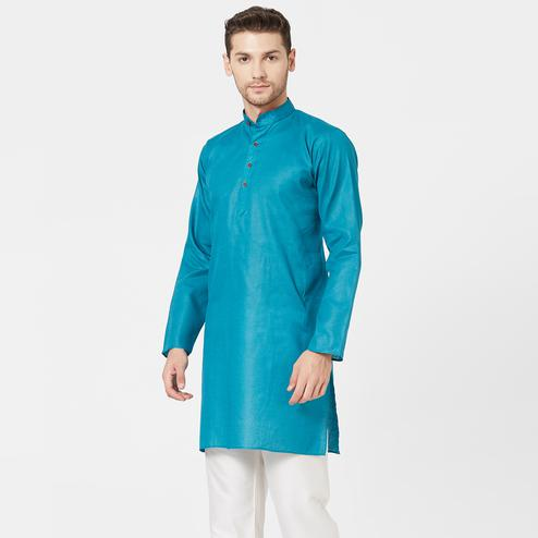 Beautiful Sky Blue Colored Festive Wear Cotton Kurta