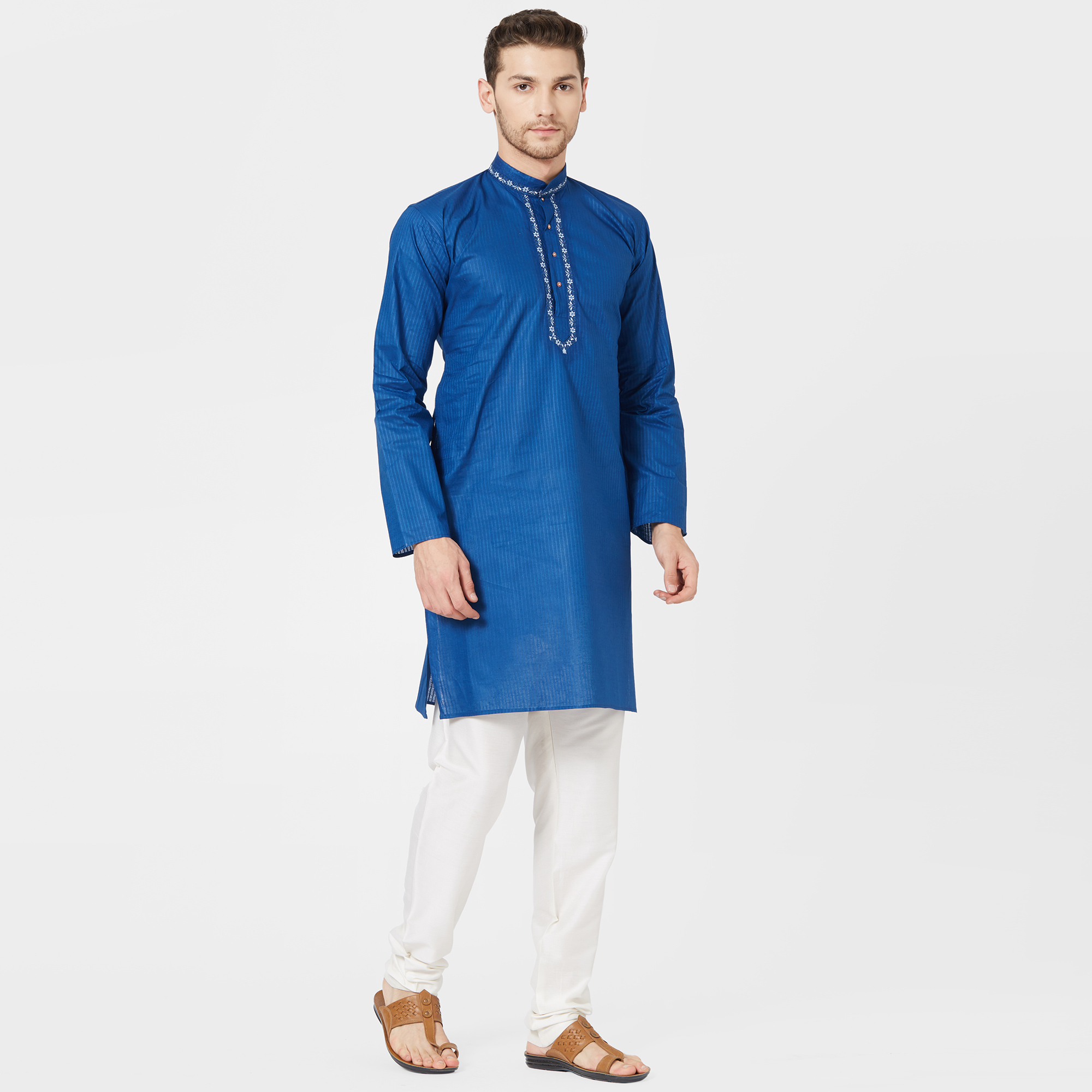 Blooming Royal Blue Colored Festive Wear Cotton Kurta
