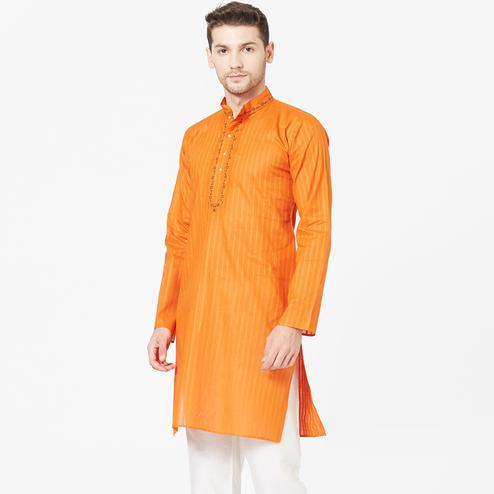 Arresting Orange Colored Festive Wear Cotton Kurta