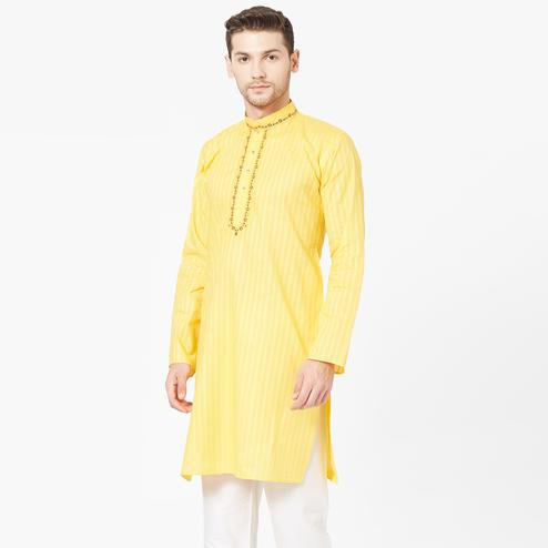 Desirable Yellow Color Festive Wear Cotton Kurta
