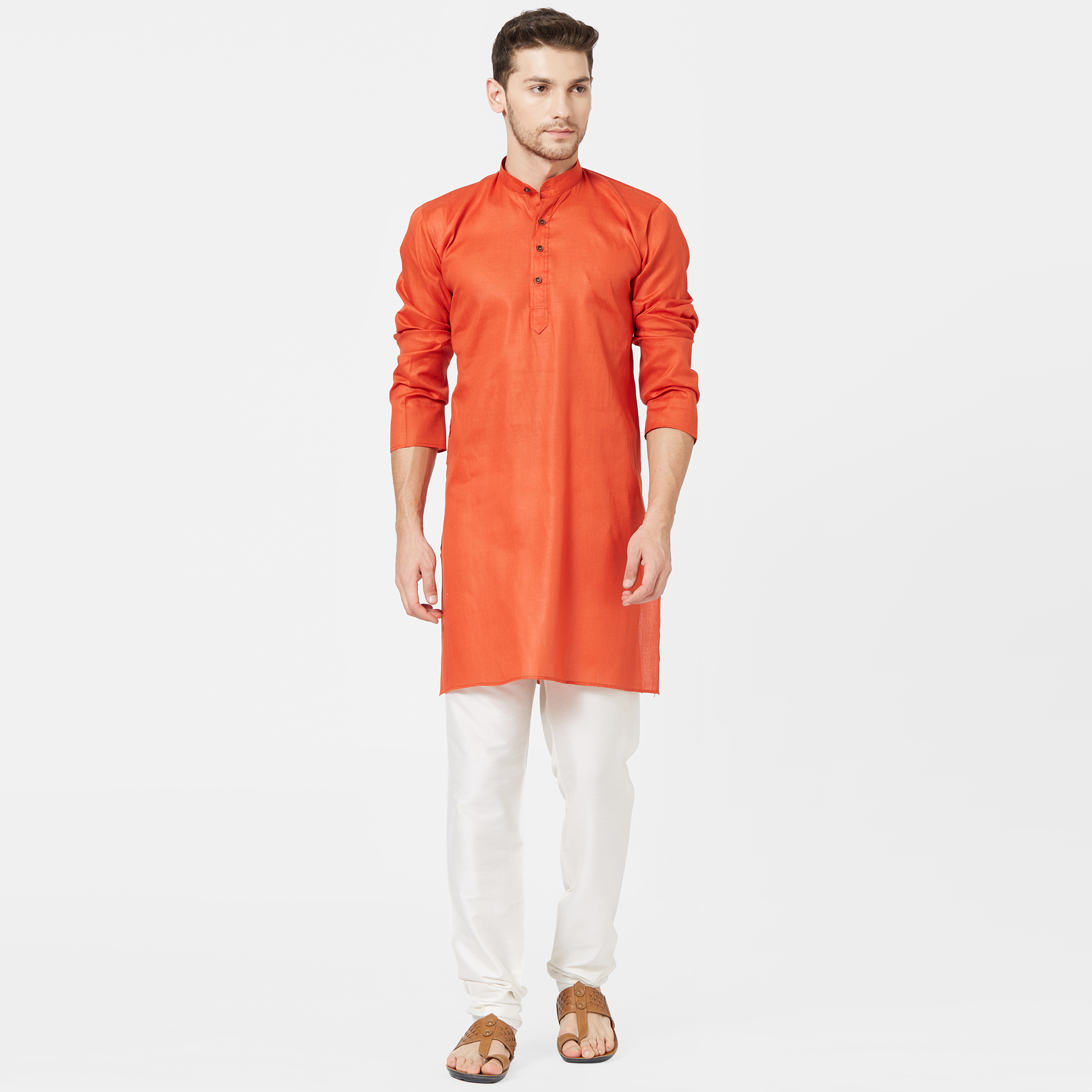 Attractive Orange Color Festive Wear Cotton Kurta
