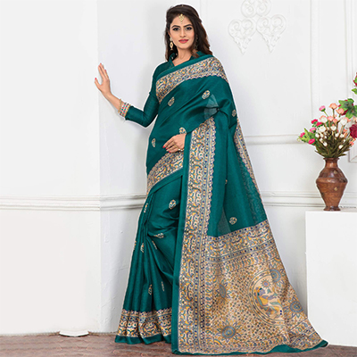 Blue Bhagalpuri Silk Printed Casul Wear Saree