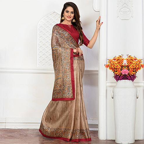 Beige - Red Bhagalpuri Silk Printed Casul Wear Saree