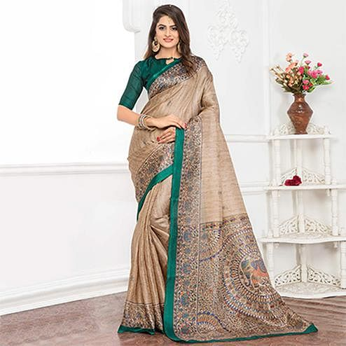 Beige - Green Bhagalpuri Silk Printed Casul Wear Saree