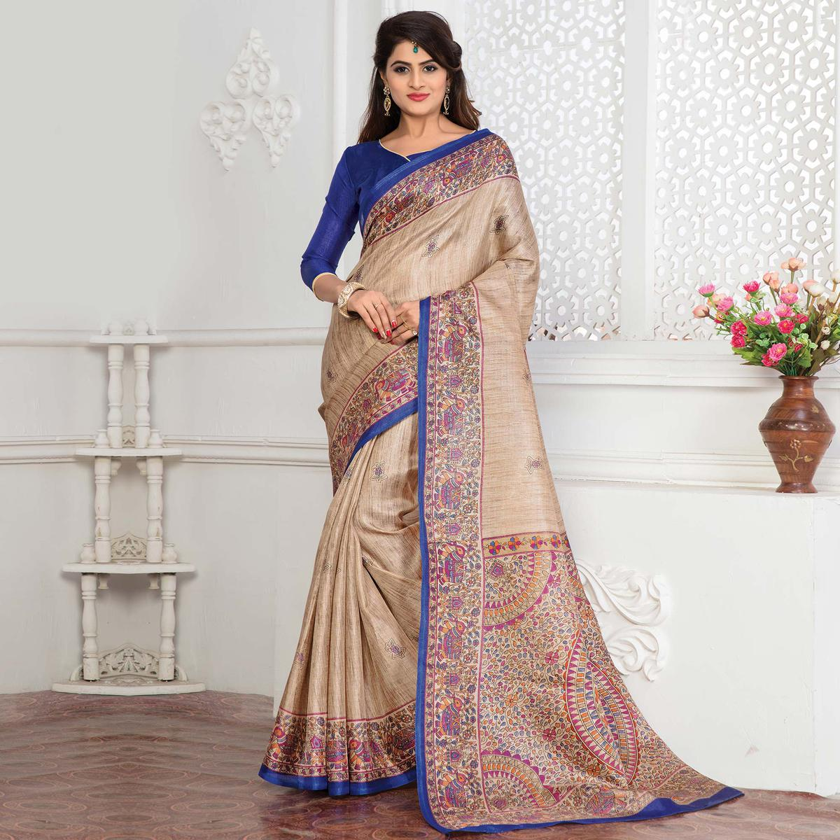 Beige - Blue Bhagalpuri Silk Printed Casul Wear Saree