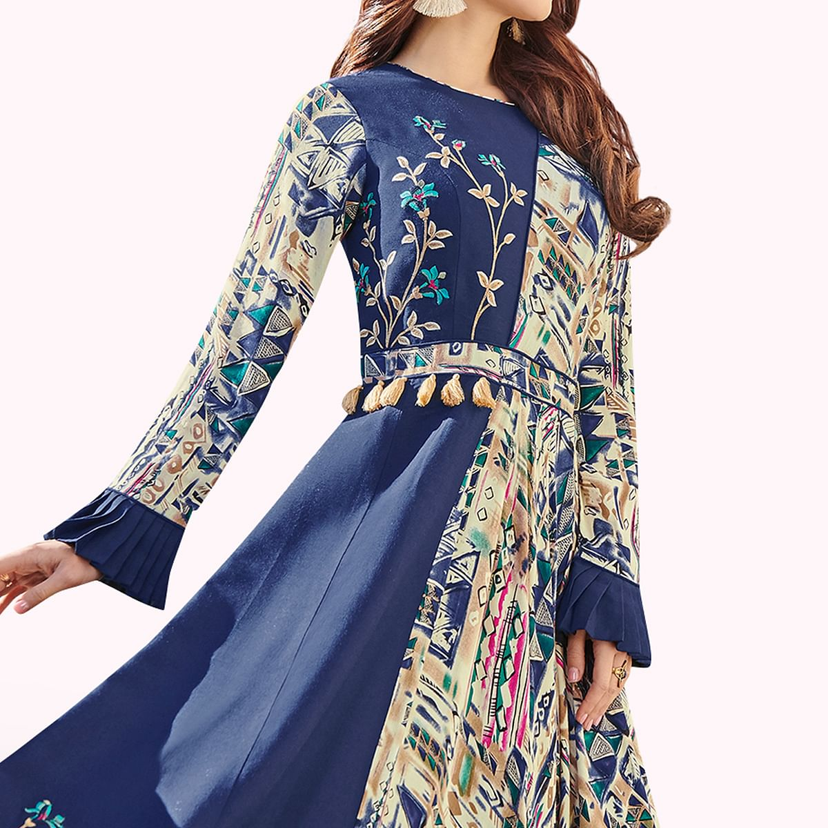 Sophisticated Navy Blue Colored Party Wear Printed Rayon Kurti