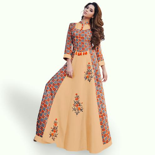 Trendy Beige-Gray Colored Party Wear Printed Rayon Kurti