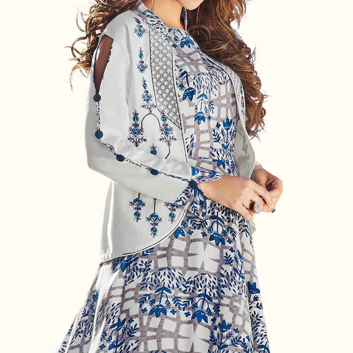 Flattering Light Gray-Blue Colored Party Wear Printed Rayon Kurti
