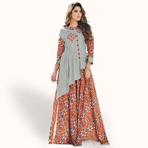 Pleasant Gray-Orange Colored Party Wear Printed Rayon Kurti