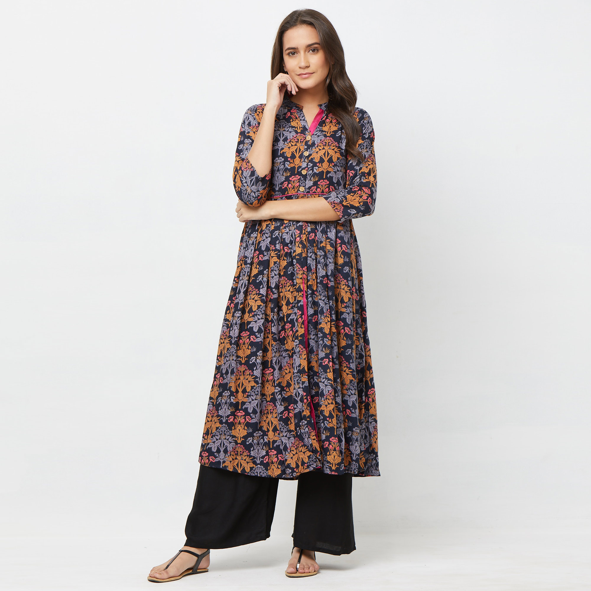 Marvellous Black Colored Partywear Printed Rayon Long Kurti