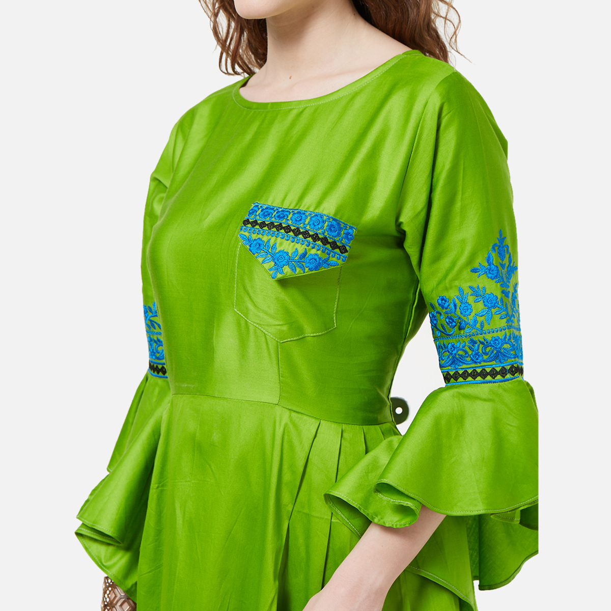 Stunning Green Colored Partywear Embroidered Cotton Long Kurti