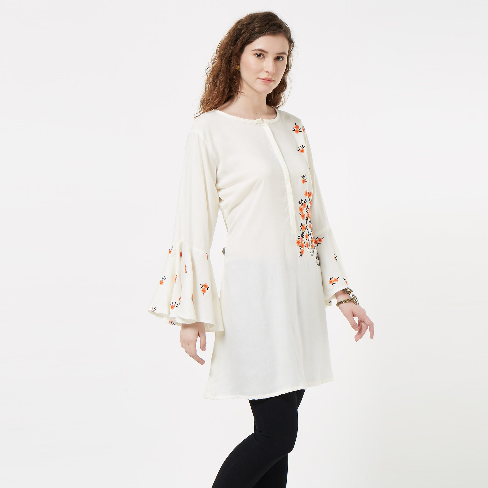 Fantastic Cream Colored Partywear Embroidered Rayon Kurti
