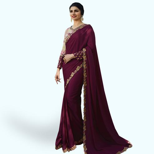 Amazing Wine Colored Partywear Embroidered Silk Saree