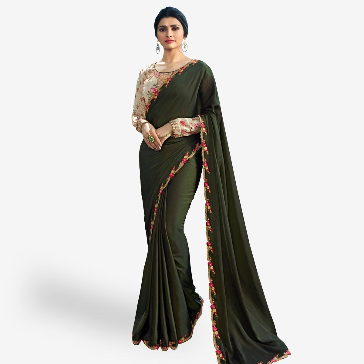 626b3a6198 Buy Marvellous Dark Olive Green Colored Partywear Embroidered Silk Saree  Online India, Best Prices, Reviews - Peachmode