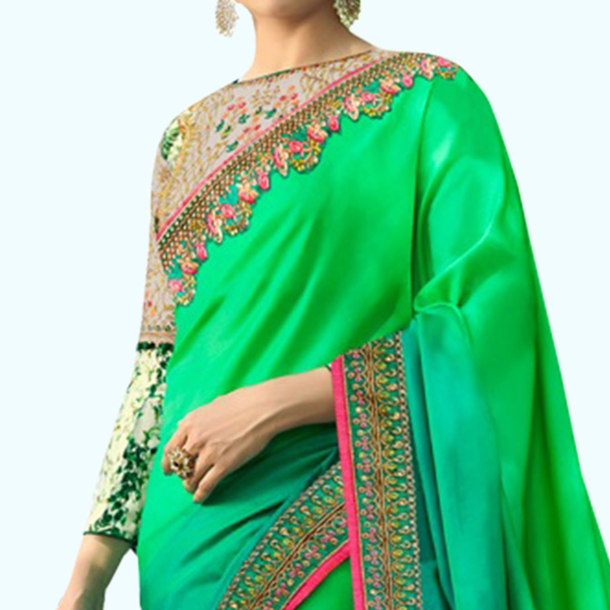 Desirable Green Colored Partywear Embroidered Silk Saree