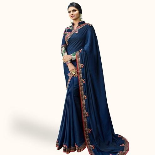Marvellous Navy Blue Colored Partywear Embroidered Silk Saree