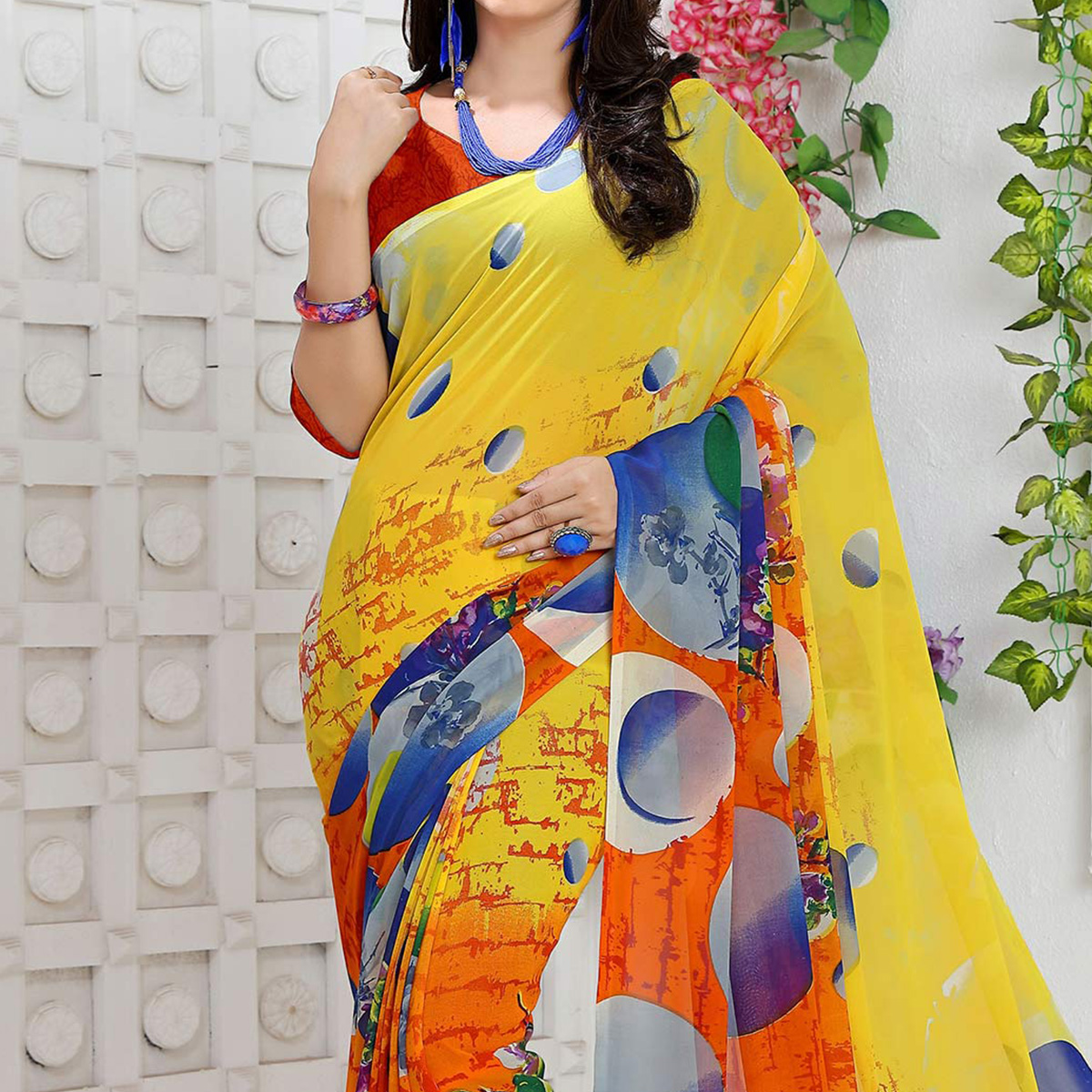 Yellow - Orange Fancy Georgette Saree
