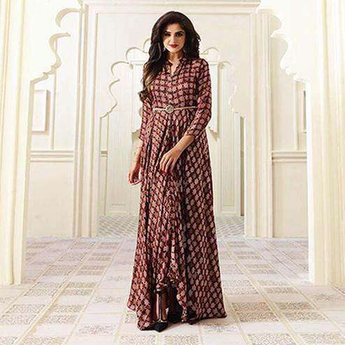 Brown Designer Partywear Digital Printed Heavy Rayon Kurti