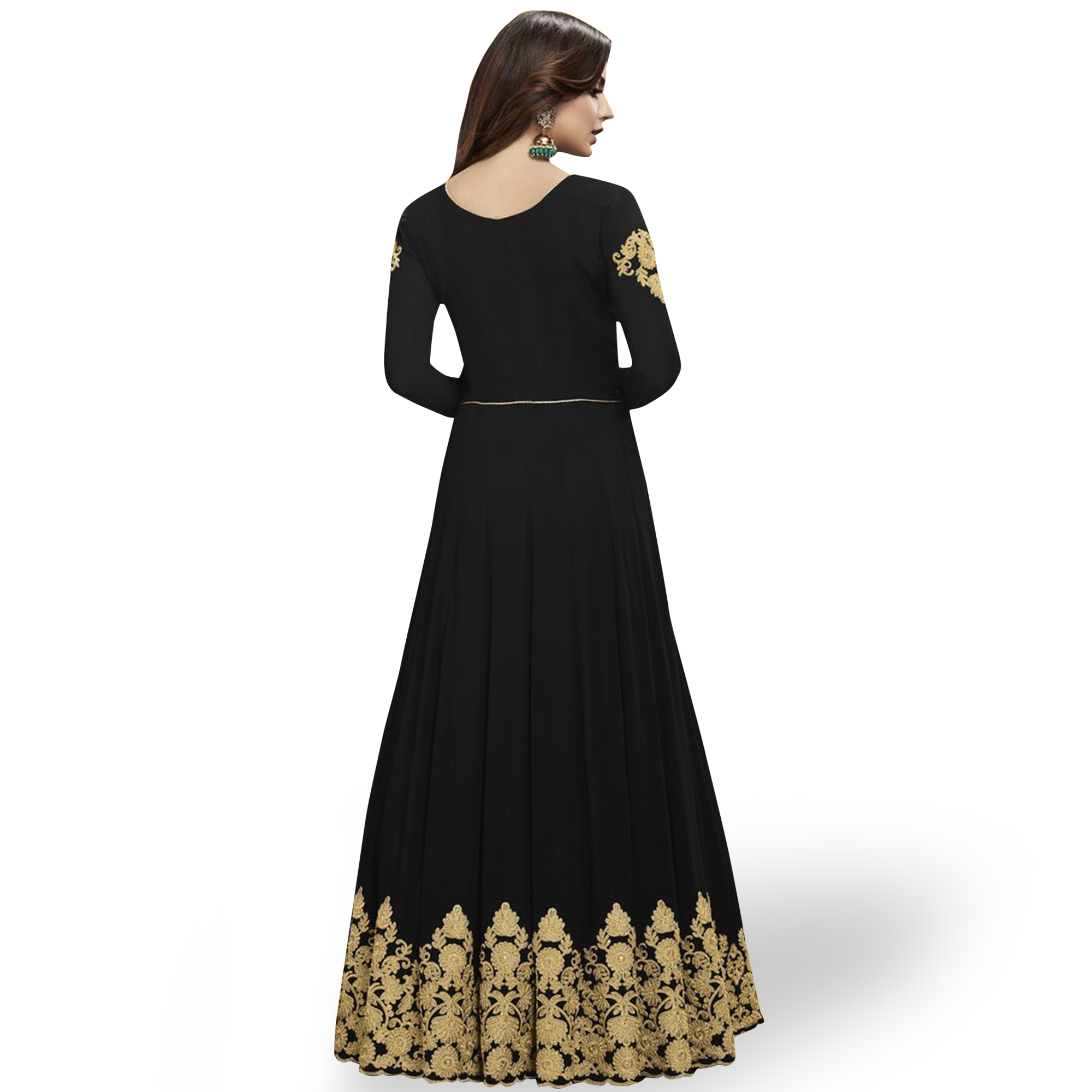 Marvellous Black Colored Partywear Embroidered Georgette Abaya Style Anarkali Suit