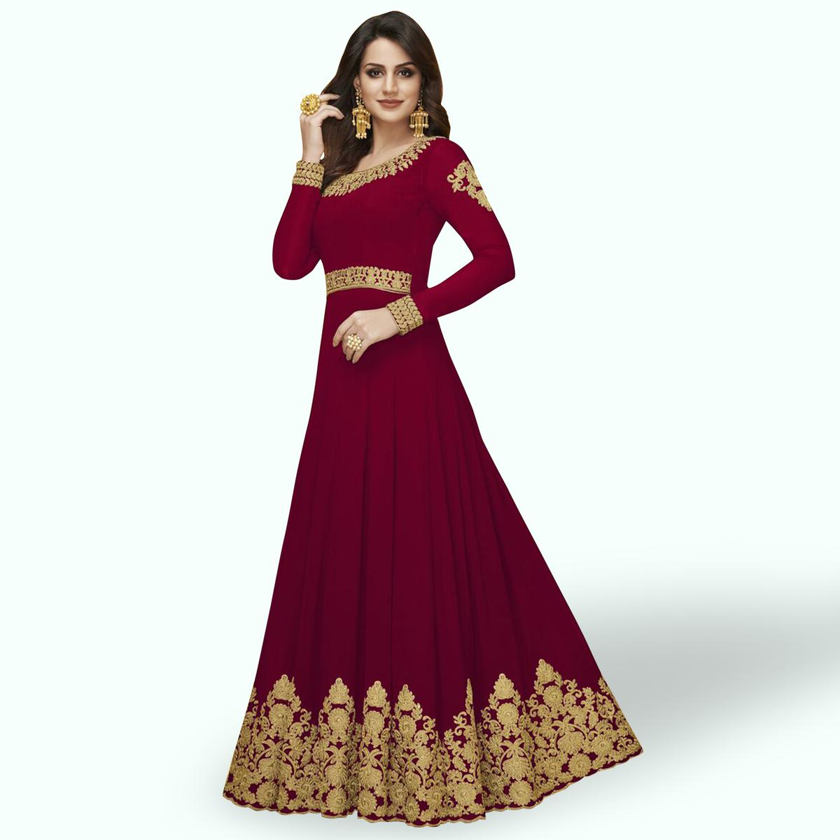 Fantastic Red Colored Partywear Embroidered Georgette Abaya Style Anarkali Suit