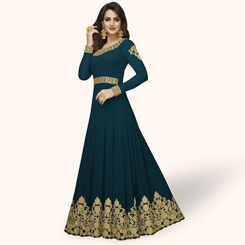 Stunning Rama Green Colored Partywear Embroidered Georgette Abaya Style Anarkali Suit