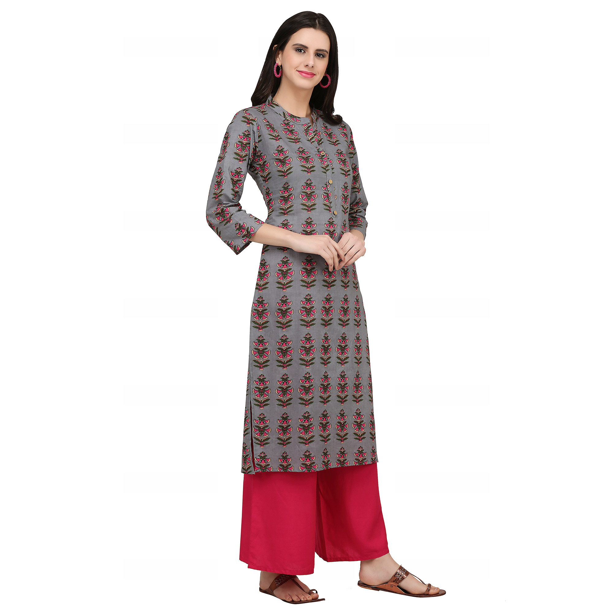 Classy Grey Colored Casual Wear Printed Cotton Kurti