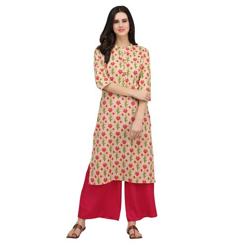 Delightful Cream Colored Casual Wear Printed Cotton Kurti