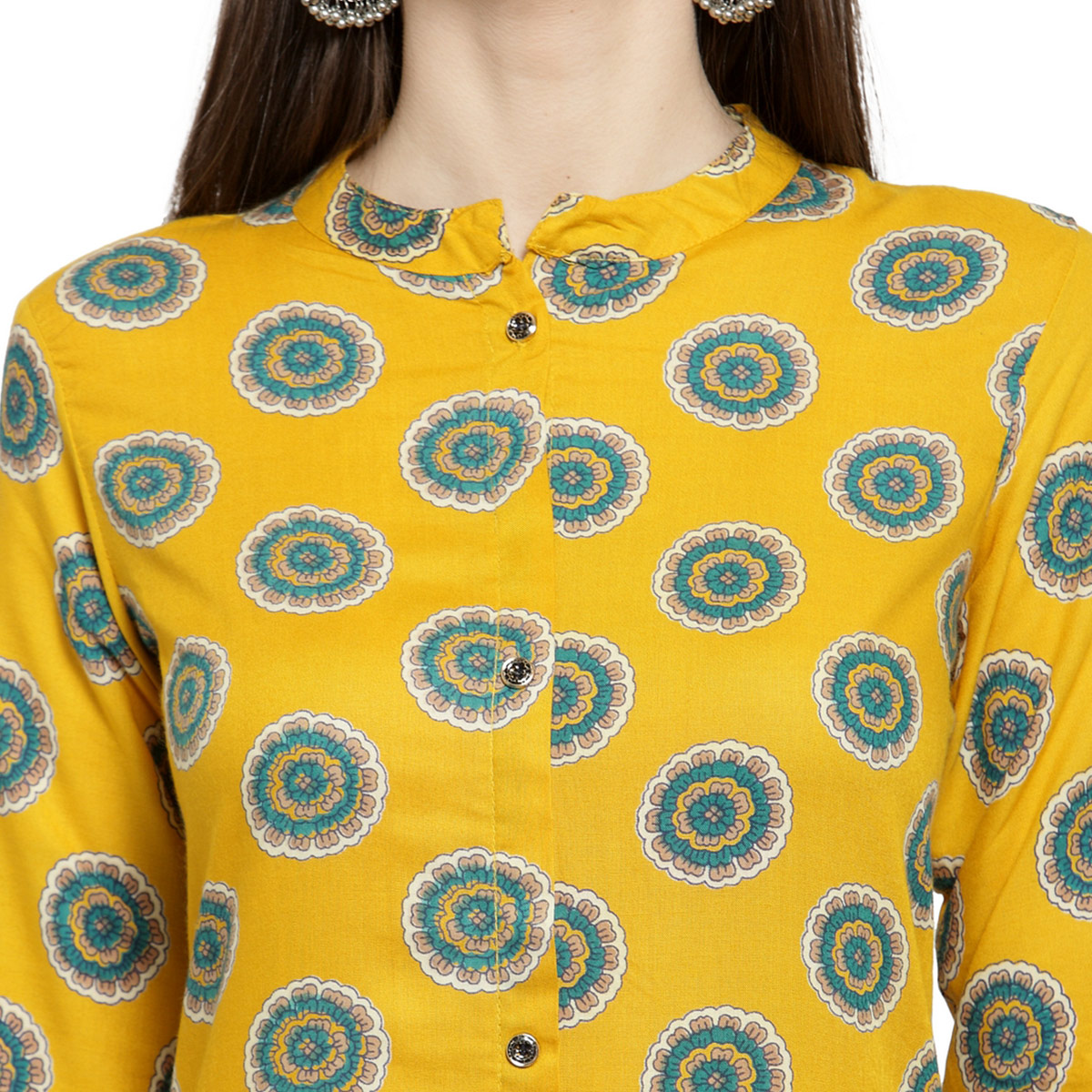 Exceptional Yellow Colored Casual Wear Printed Rayon Kurti