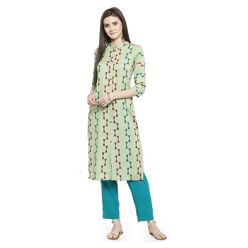 Mesmeric Mint Green Colored Casual Wear Printed Rayon Kurti