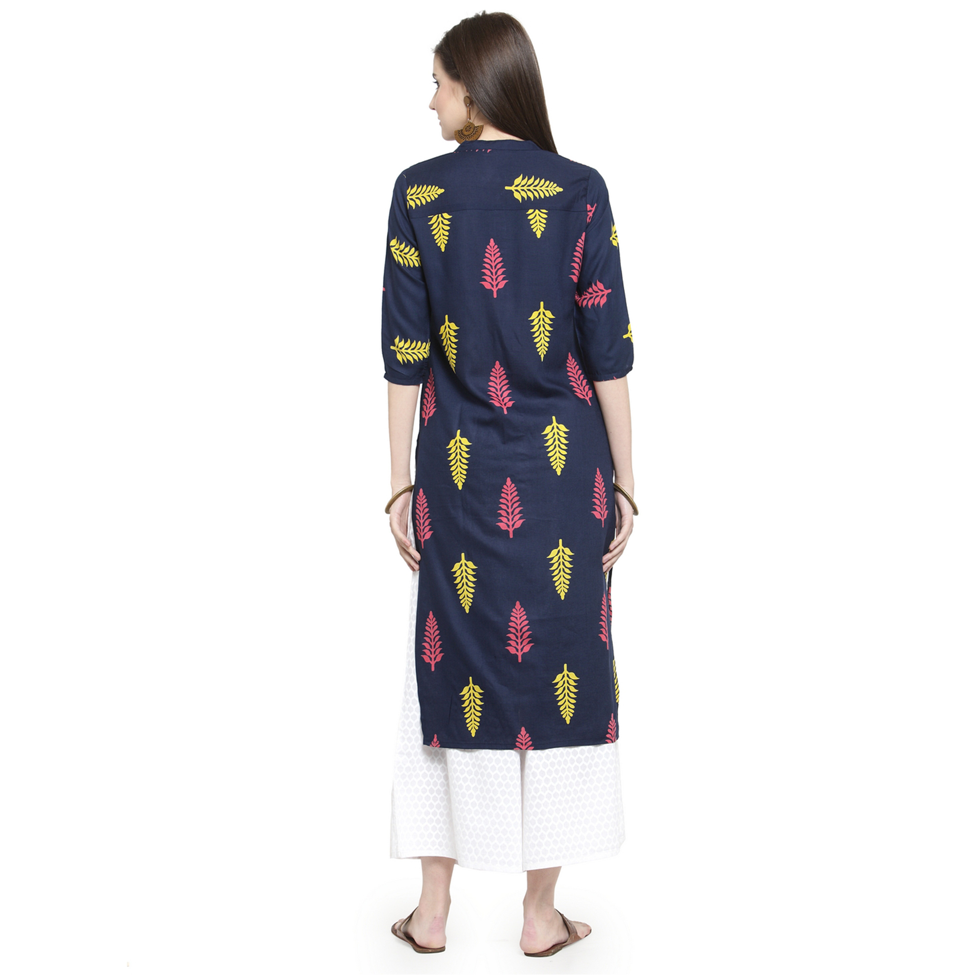 Unique Navy Blue Colored Casual Wear Printed Rayon Kurti