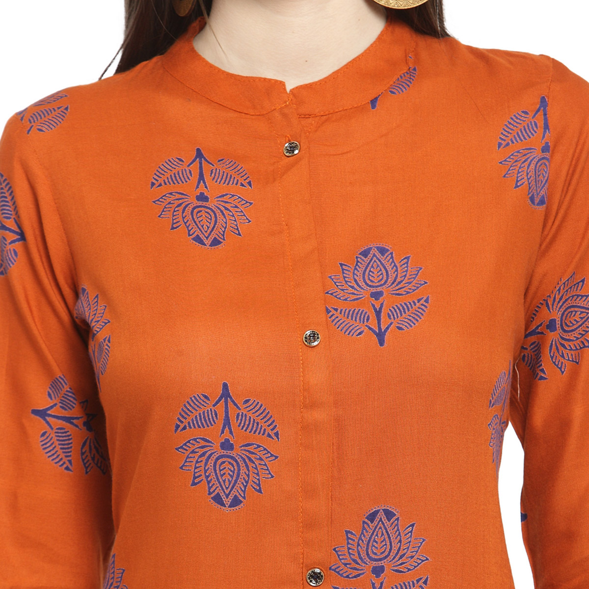 Demanding Rust Orange Colored Casual Wear Printed Rayon Kurti