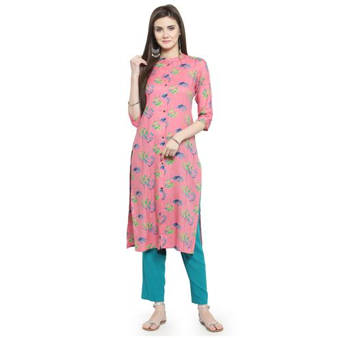 Magnetic Pink Colored Casual Wear Printed Rayon Kurti