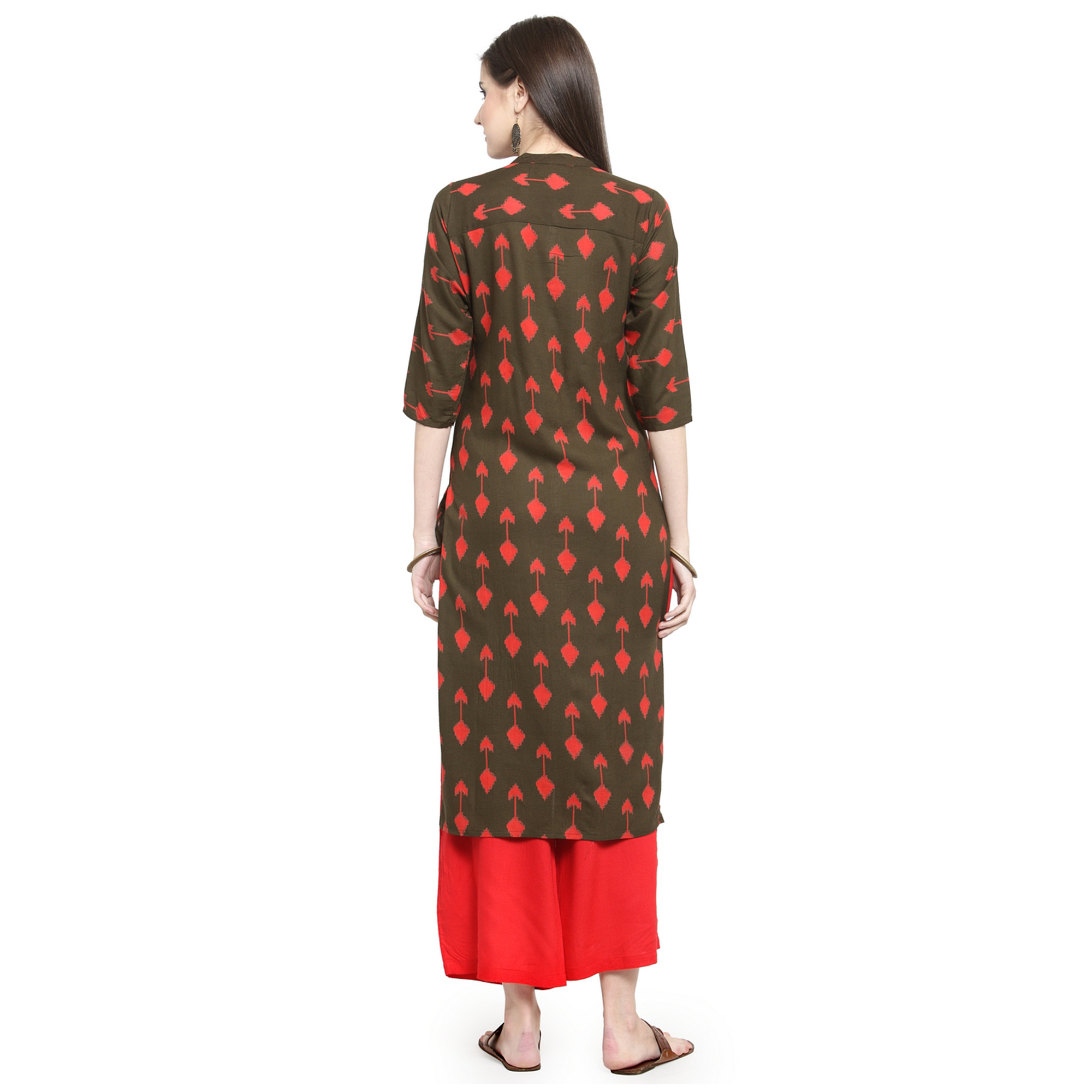 Elegant Coffee Colored Casual Wear Printed Rayon Kurti