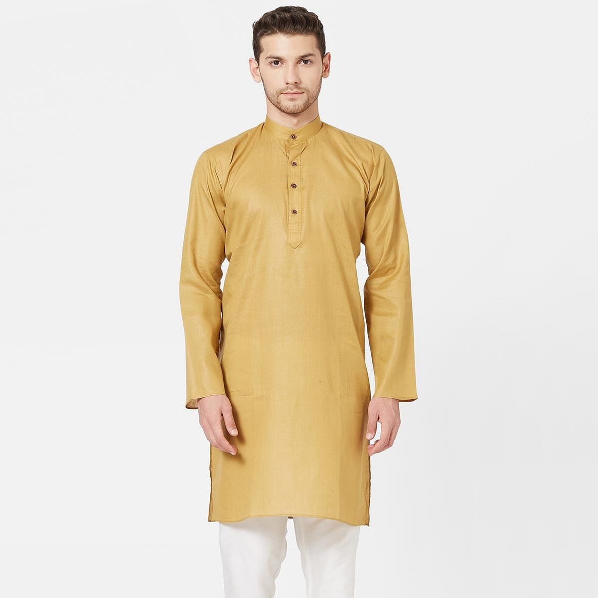 Mesmeric Mustard Yellow Colored Festive Wear Cotton Kurta