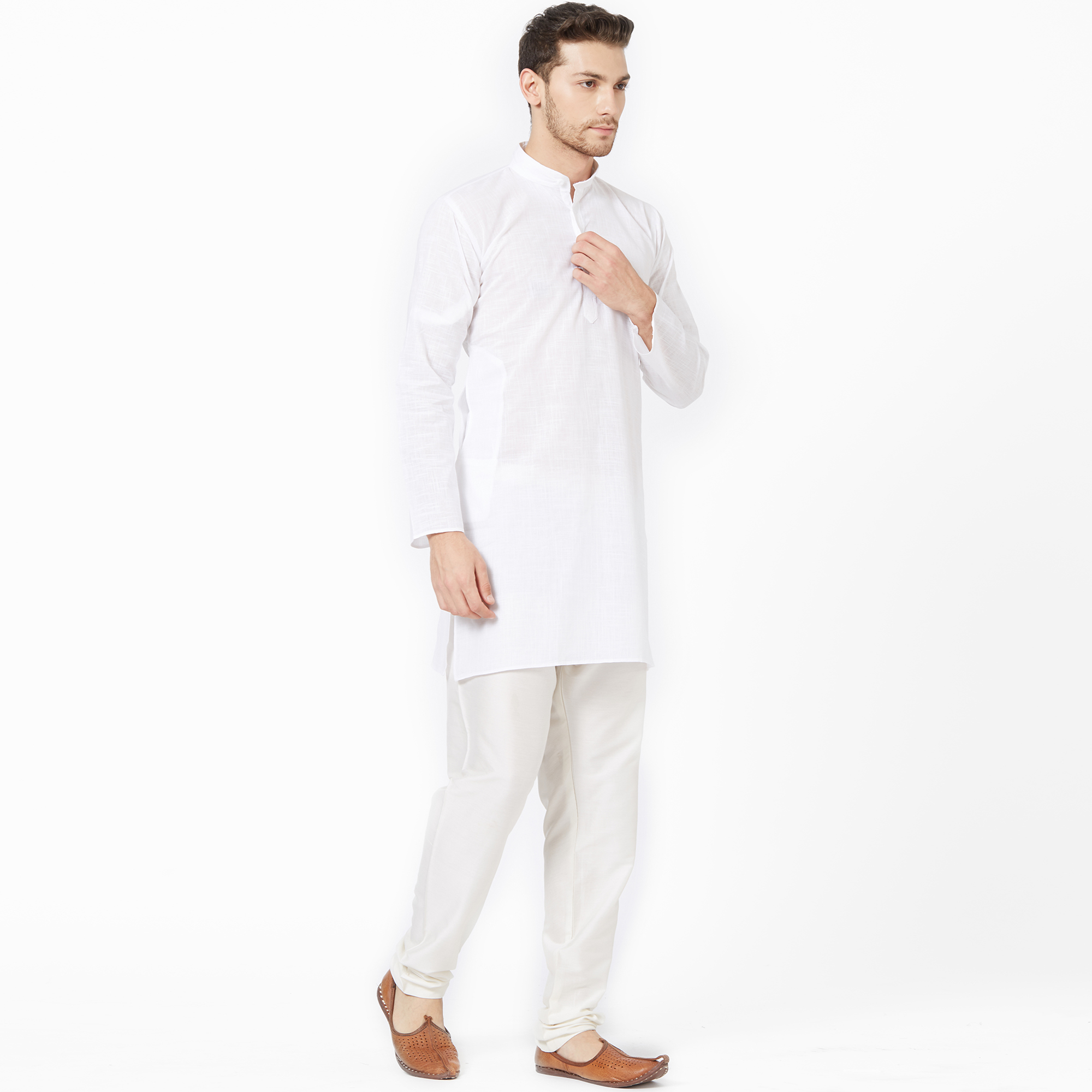 Engrossing White Colored Festive Wear Cotton Kurta