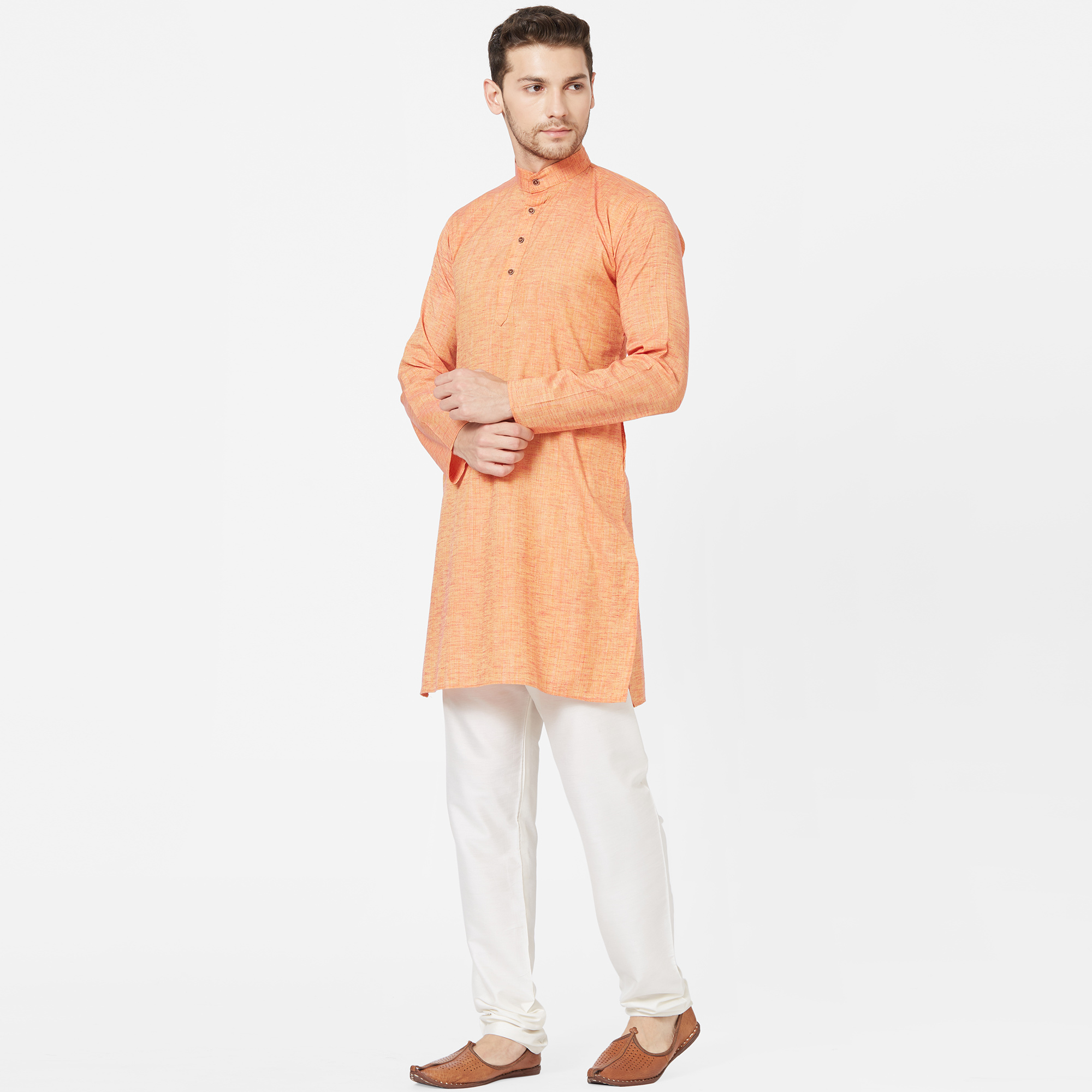 Exotic Orange Colored Festive Wear Cotton Kurta