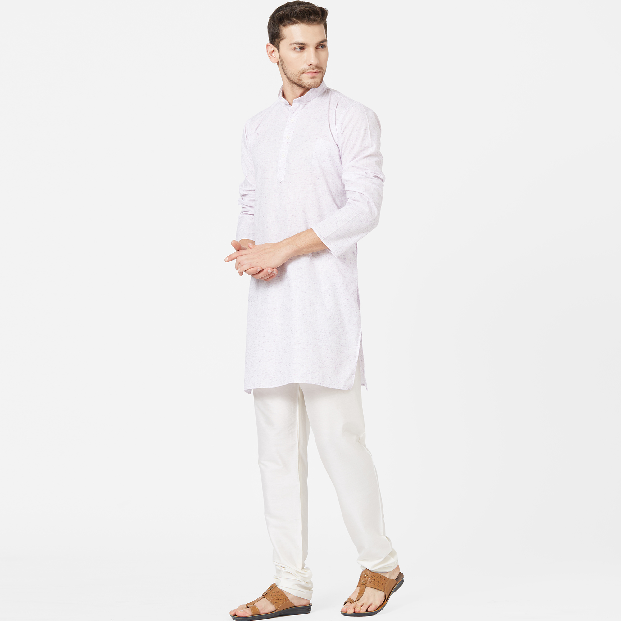 Adorable Light Lavender Colored Festive Wear Cotton Kurta