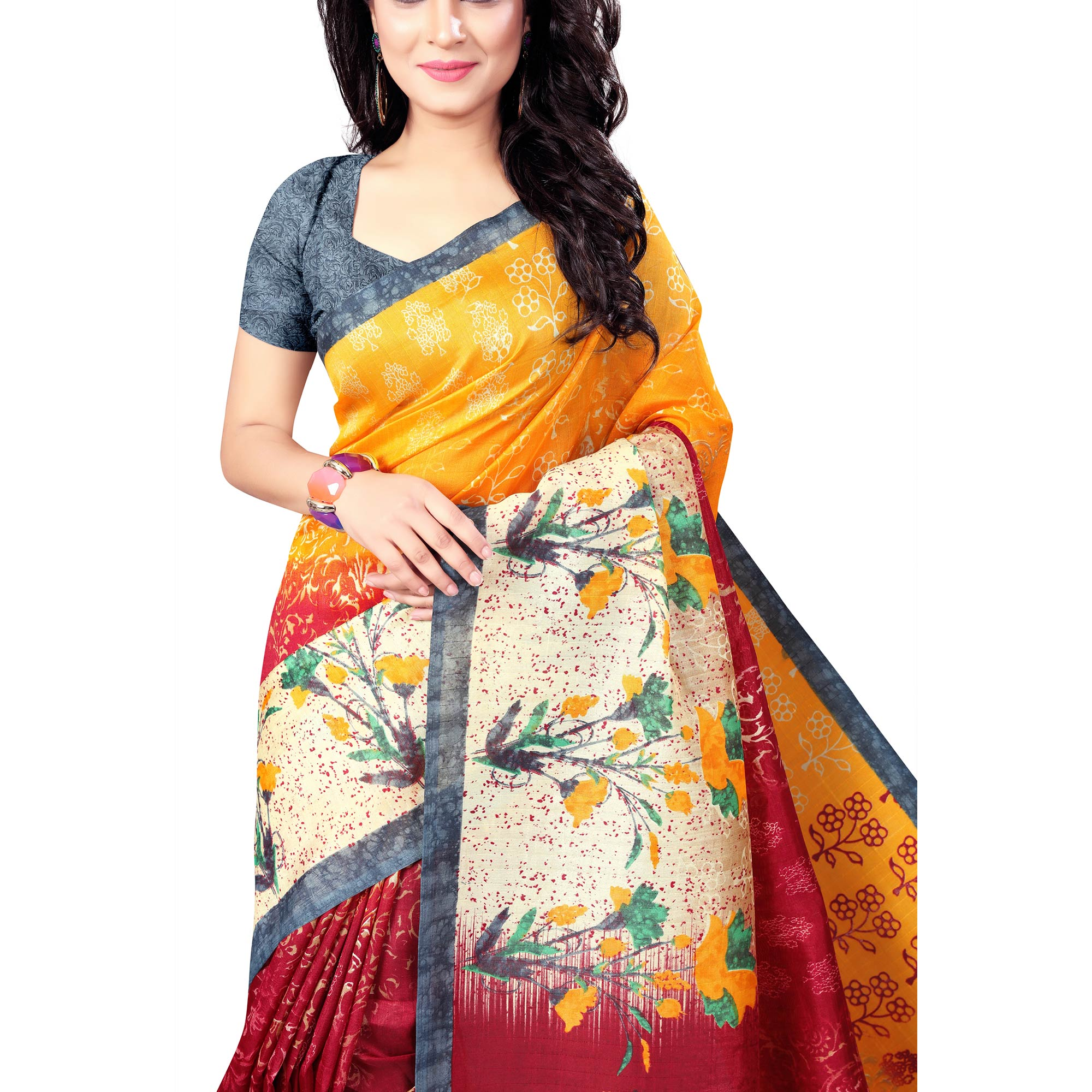 Intricate Yellow-Red Colored Casual Wear Printed Bhagalpuri Silk Saree