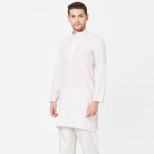 Blooming Light Pink Colored Festive Wear Cotton Kurta