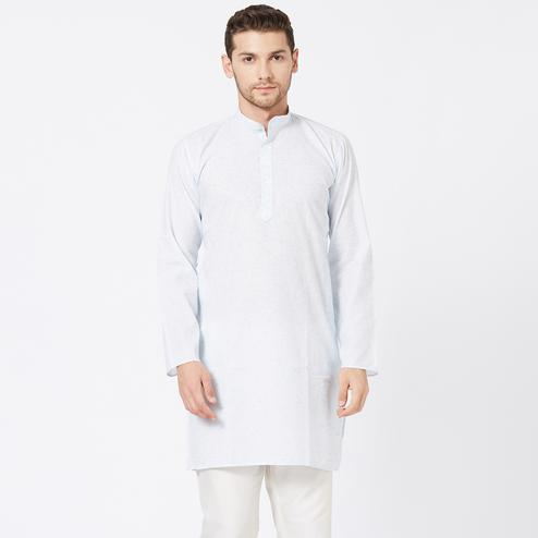 Exceptional Light Blue Colored Festive Wear Cotton Kurta