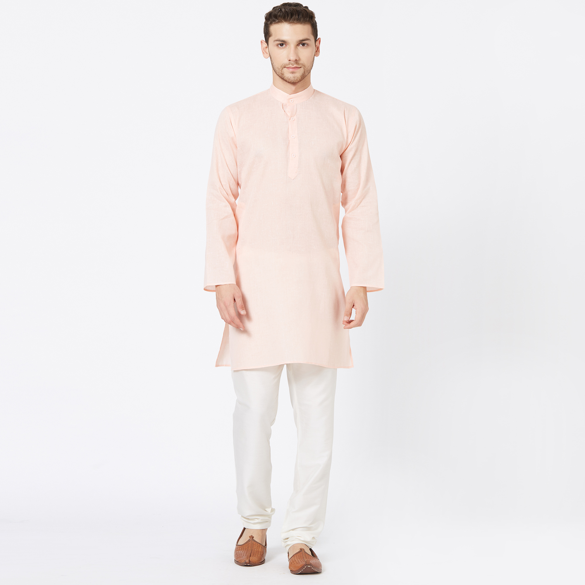 Gleaming Pastel Peach Colored Festive Wear Cotton Kurta